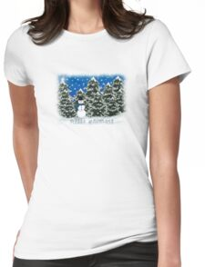 Merry Christmas Snowman Winter Scene Greeting Card Womens Fitted T-Shirt