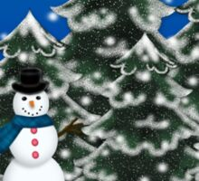Merry Christmas Snowman Winter Scene Greeting Card Sticker