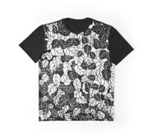 Japanese Leaf Print, Black and White Graphic T-Shirt