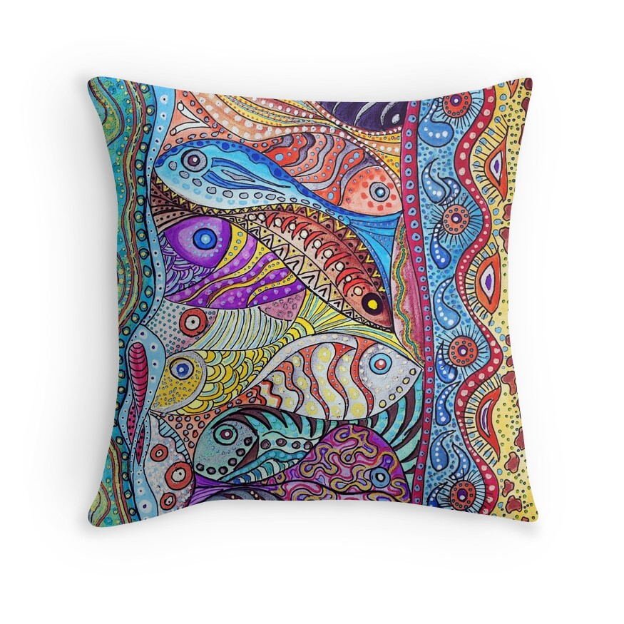 School of fish throw pillows by sabine spiesser redbubble for Fish throw pillows