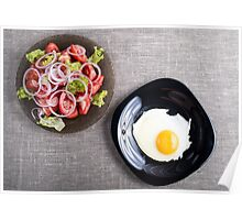Top view of a healthy homemade breakfast of fried egg and a salad Poster