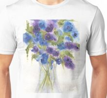 Blue Violet Pansies Unisex T-Shirt