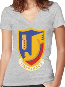 376th Bombardment Group Liberandos Emblem Women's Fitted V-Neck T-Shirt