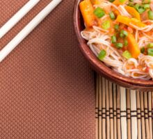 Top view of an Asian dish of rice noodle and vegetable seasonings Sticker