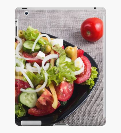 Small plate of natural salad of raw vegetables iPad Case/Skin