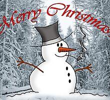 Snowman Merry Christmas Card by Rob Johnston