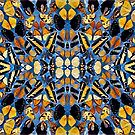 Airy blue and mustard mosaic by endomental Artistry