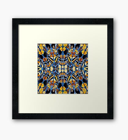 Airy blue and mustard mosaic Framed Print