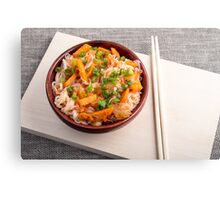 Asian dish of rice noodles in a small brown wooden bowl Canvas Print