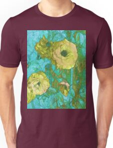Yellow Roses on Aqua and Green  Unisex T-Shirt