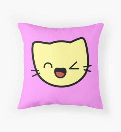 Kawaii Kitty Cats 2048 - tile 256 Throw Pillow