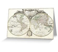 Vintage Map of The World (1775) Greeting Card