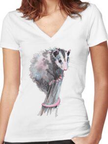 Virginia Opossum Baby Women's Fitted V-Neck T-Shirt