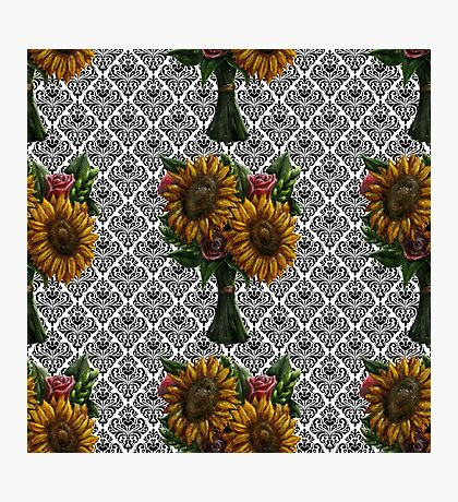 Flower Bouquet with Damask Black and White Pattern Photographic Print