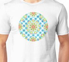 Blue Gingham Firework Mandala Unisex T-Shirt