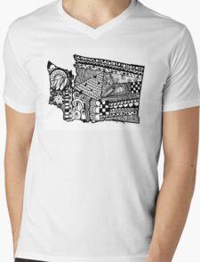 Washington ZenDoodle Mens V-Neck T-Shirt