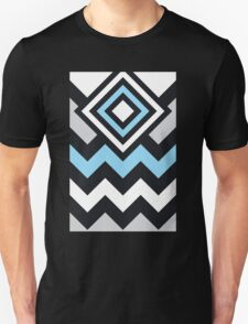 Modern Geometric Pattern Blue Black Unisex T-Shirt