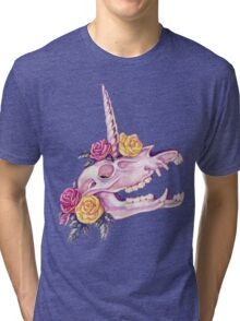 Unicorn Skull with Roses Tri-blend T-Shirt