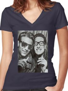 Buddy Holly and Waylon Jennings Women's Fitted V-Neck T-Shirt