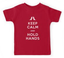 Keep Calm and Hold Hands (Otters holding hands) Kids Tee