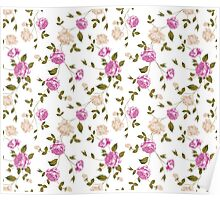 Seamless texture of pastel roses for textiles Poster