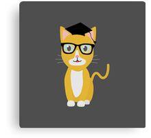nerd geek cat Canvas Print