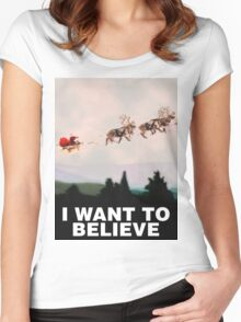 I Want to Believe, X-Files spoof Women's Fitted Scoop T-Shirt