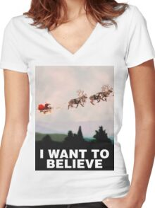 I Want to Believe, X-Files spoof Women's Fitted V-Neck T-Shirt