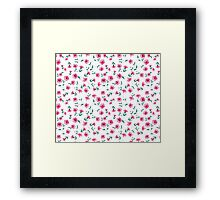 Pink flowers fabric, seampless pattern Framed Print