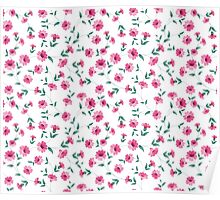Pink flowers fabric, seampless pattern Poster