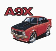 Holden A9X Torana in Red, Car toon Hatchy by UncleHenry