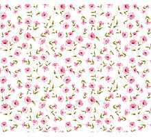 Pink flowers fabric, seampless pattern Photographic Print