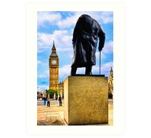 Never Surrender - Winston Churchill & Big Ben Art Print