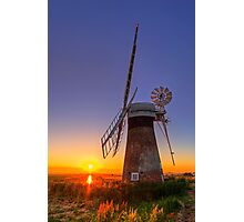 Sunset at Thurne mill Photographic Print