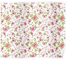 Elegant seamless peony pattern on white background Poster