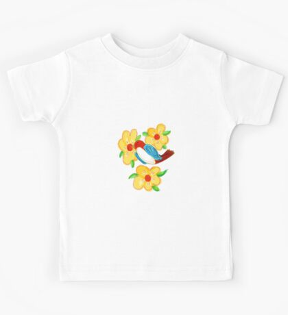 Blue Bird With Yellow Flowers Kids Tee