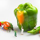 Vegetable Painting Little People On Food by Paul Ge