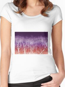 Sunset White Trees Women's Fitted Scoop T-Shirt