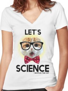 Waffles the Cat - Let's Science Women's Fitted V-Neck T-Shirt