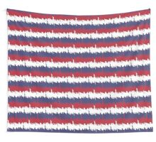 NY USA Skyline in Red White & Blue Stripes NYC New York Manhattan Skyline Silhouette Wall Tapestry