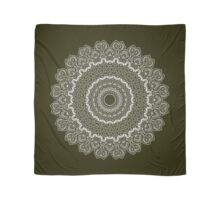 Thousands Nights Mandala on Dark Olive Green Scarf
