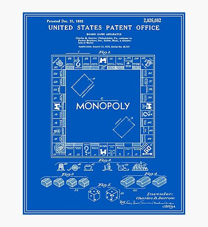 Monopoly Patent - Blueprint Photographic Print