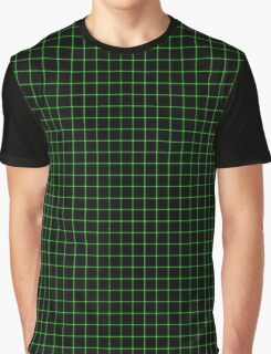 Matrix Optical Illusion Grid in Black and Neon Green Small Graphic T-Shirt