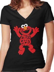 Elmo Loves you Women's Fitted V-Neck T-Shirt