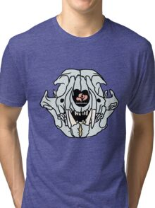 Pastel Cat Skull on Black Tri-blend T-Shirt
