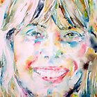 JONI MITCHELL - watercolor portrait by lautir