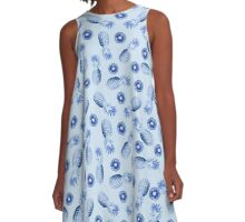 Watercolor Pineapples on Blue A-Line Dress