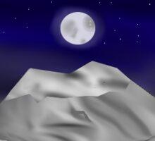 Moonlit Mountians Sticker