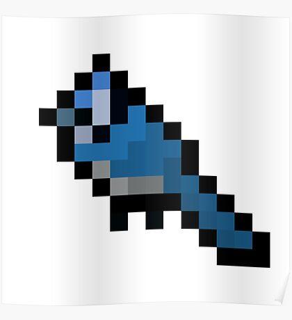 8-Bit Retro Bluejay Poster