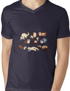 cat snakes in blue Mens V-Neck T-Shirt